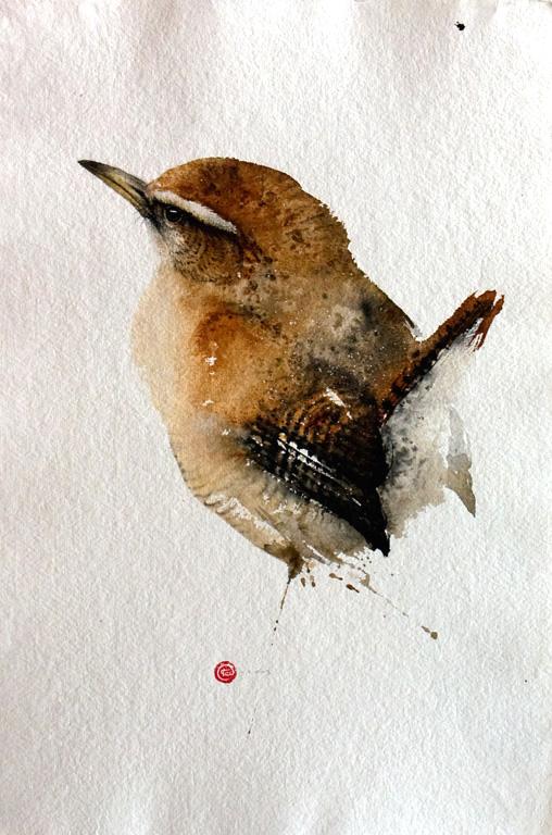 Karl Martens, acquerelli di uccelli con la tecnica della calligrafia zen