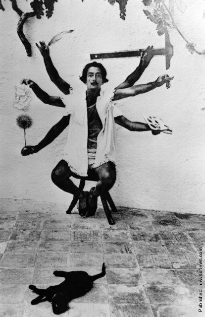 Salvador Dalì e un gatto nero