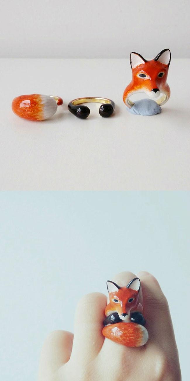 anelli combinati di design raffiguranti animali