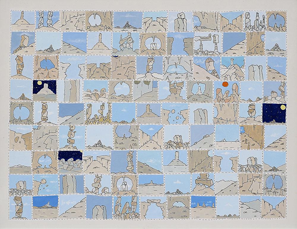 Riconoscersi nella terra, 1972, china e smalto su cartone, 27 x 35 cm