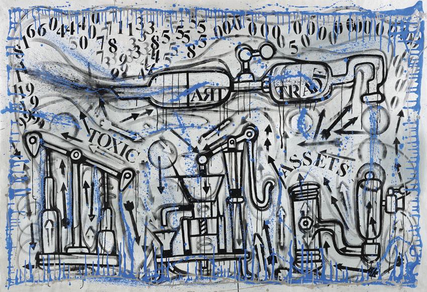 Combat painting 3, 2014, acrilico su tela, 160 x 240 cm