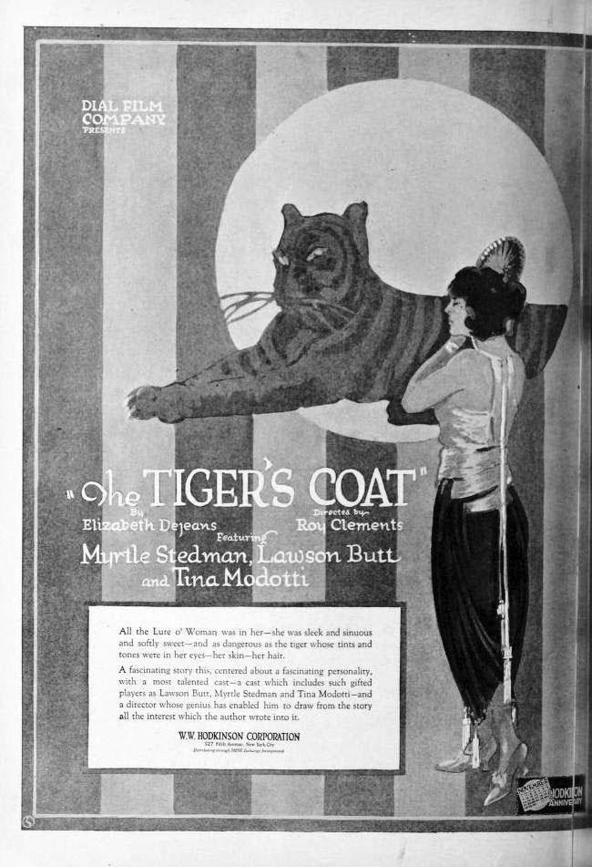 """«Elegante, sinuosa e dolce». Così la locandina del film """"The Tiger's Coat"""", pubblicata sull'«Exhibitors' Herald» il 6 novembre 1920, descrive il personaggio di Tina Modotti, sottolineando il suo irresistibile fascino."""